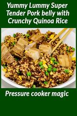 Super tender pressure cooker pork belly and crunchy rice (garydlum) Tags: chicken chickenstock corn peas pork porkbelly quinoa rice sesameoil canberra australiancapitalterritory australia au