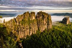 """Morning sun at the """"Schrammsteine"""", Saxon Switzerland (Uwe Kögler) Tags: saxony sachsen sächsischeschweiz sonnenaufgang sunrise schrammsteine aussicht elbe elbsandsteingebirge fog nebel germany deutschland felsen landscape landschaft"""