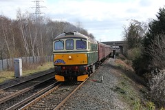 WCR BLS 1Z87 'The Ruby Vampire - 2nd Bite' railtour Approaches Eastham rake Station 24th  March 2019 with BRCW Crompton Type 3 No. D6515 'Lt Jenny Lewis RN'  © (steamdriver12) Tags: wcr bls 1z87 the ruby vampire 2nd bite railtour station 24th march 2019 brcw crompton type 3 no d6515 lt jenny lewis rn branch line society west coast railways england diesel electric heritage traction eastham rake cheshire