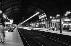Section C (Alexander Dülks) Tags: nacht night hauptbahnhof bahnhof monochrom mainstation bahnsteig bewegung sw zug platform monochrome motion train bw 1992 station analog bonn c