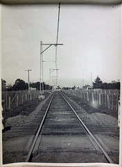 Typical single track construction Steel mast and side arms. (Public Record Office Victoria) Tags: railways train electrification blackandwhite archives victoria tracks steel 1919 track