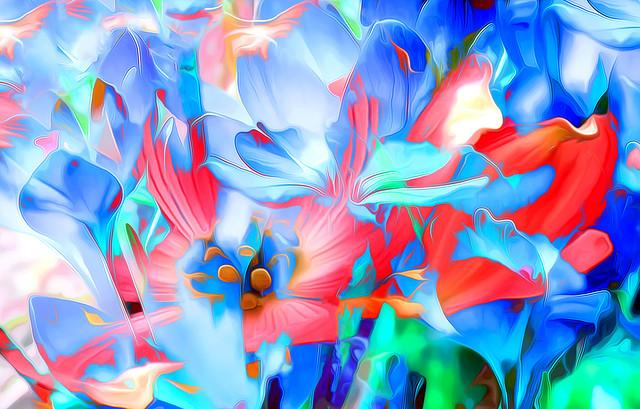 Обои рендеринг, цветы, арт, линии, яркий картинки на рабочий стол, фото скачать бесплатно