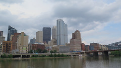 Pittsburgh skyline (Coyoty) Tags: pittsburgh pennsylvania pa river skyline city urban sky clouds buildings architecture bridge riverfront upmc monongahelariver riverboat cruise scenic cityscape water