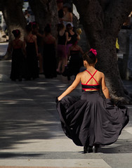 Dancer on El Prado, Havana (creditflats) Tags: prado paseo havana habana ballet dance cuba girl dress red street boulevard travel world beauty black olympus pen ep5 marti promenade vieja ballerina light shadow child youth