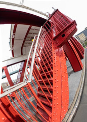 Swing Bridge. (CWhatPhotos) Tags: cwhatphotos flickr camera photographs photograph pics pictures pic picture image images foto fotos photography artistic that have which contain photo photos olympus four thirds newcastle upon tyne wear day out em1 mzuiko 8mm f18 fisheye fish eye views view north east england county durham uk swing bridge crossing red bridgestreet street road girders steel iron
