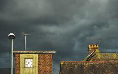 Dark Morning (Mandy Willard) Tags: 119in2019 doomandgloom clock lamppost roof tiles sky clouds chimney