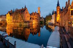 Bruges. West Flanders, Belgium (Ed.Moskalenko) Tags: bruges brugge flanders belgium bluehour night evening reflection boat architecture building cityscape travel tourism