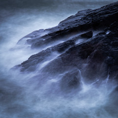 In The Beginning (PeskyMesky) Tags: aberdeenshire collieston colliestonharbour longexposure scotland water rock sea ocean blue canon canon5d eos