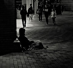 City Lights, Liverpool (ronramstew) Tags: city liverpool merseyside roughsleeper pavement isolation monochrome