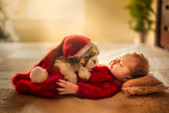 Joseph and his little furry friend (But Natural Photography) Tags: newborn baby boy posing photography best images babies with pets puppy red