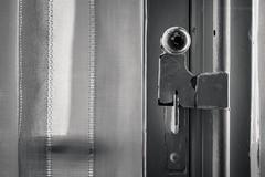 enclosed. (Laura Sergiampietri) Tags: bw bn blackwhite biancoenero window knob courtain light naturallight inside old things objects minimalism minimal geometric smcpentaxm4080mmf284asahi smcpm4080mmf284asahi