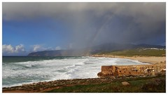 3-in-1 weather (Claudia1967) Tags: clouds praia beach portugal cascais guincho coast sea dramatic sky weather rain rainbow