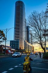 The Chen (RP Major) Tags: box hill melbourne street australia chen building architecture sunset delivery driver yellow high rise night fuji x70