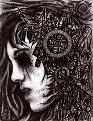 The Deception (Skyler Brown Art) Tags: angst art artwork charcoal dark darkness depressing drawing emo emotional fear goth gothic industrial ink intense macabre paper pen sad technology