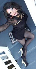 Gold & Black (therealdavinawayne74) Tags: crossdresser crossdressing crossdress crossdressed dragmakeup dragqueen drag femme highheels hosiery pantyhose transvestite tgirl tights tranny nylons minidress makeup m2f maletofemale