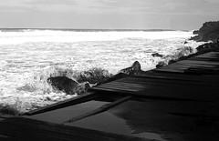 Barbara Beach (salparadise666) Tags: zorki 3m industar 22 rollei retro 80s caffenol cl 45min nils volkmer vintage rangefinder fsu russian horizontal landscape shoreline beach azores portugal bw black white monochrome film analogue sea