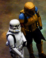 I Used to Go to School With Darth Vader (Steve Taylor (Photography)) Tags: white yellow blue black brown newzealand nz southisland canterbury christchurch texture armageddonexpo armaggedon addington costume helmet outfit starwars stormtrooper