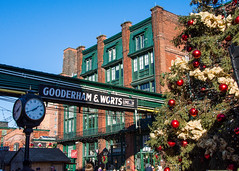 Gooderham & Worts at Christmas Time (Rackelh) Tags: architecture distillery district clock tree christmas sign building toronto market ontario canada