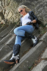 Anna 117 (The Booted Cat) Tags: sexy blonde model girl tight blue jeans leather cowboyboots cowgirl boots jacket sunglasses