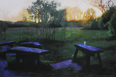 Early sunset (Daria Kucharczyk (LionheART)) Tags: art artist artwork artschool painting pastel paint pleinair park summer spring landscape evening mysterious warsaw green sun sunset light leaves black realistic realism tree trees creative forest nature detail