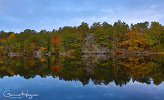 Autumn Reflection (GunnarImages (Gunnar Haug)) Tags: autumn landscape cute nature water nordic lake fall risør red pond sun blue wildlife love leaves forest mirror tree norway green foresttrees yellow pretty brown
