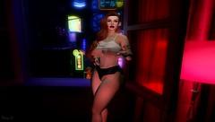 Bangkok Rose (fionadempsey) Tags: roses redhead ginger curves smoking cigarette thighs bangkok tattoo tits breasts secondlife sl neon