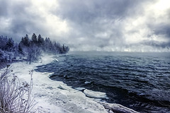 She's a cold and mysterious lover. (bigtownhicks) Tags: lakesuperior seasmoke winter greatlakes ice frozen landscape seascape water minnesota duluth bigtownhicks barbaragrether