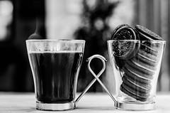 34 ~ 365 (BGDL) Tags: lightroomcc nikond7000 bgdl bwno7~365again niftyfifty nikkor50mm118gnikon blackandwhite kitchen espresso coffeecup oreobiscuits toomany