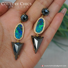 18k Yellow Gold Genuine Opal Gemstone Dangle Earrings Black Spinel Diamond Pave Jewelry (couturechics.facebook1) Tags: 18k yellow gold genuine opal gemstone dangle earrings black spinel diamond pave jewelry