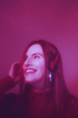 Retro Wave (TheJennire) Tags: photography fotografia foto photo canon camera camara colours colores cores light luz young tumblr indie teen adolescentcontent dreaming dreamy ethereal retrowave retro 90s 80s fashion headphones music happy smile girl turtleneck peoplepinkaesthetic pink toronto canada