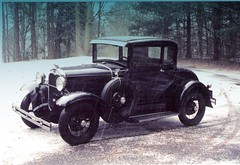 1930 Model A Ford Deluxe Coupe (austexican718) Tags: ford snow virginia classic car canon eos elan film camera slr weather