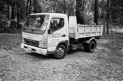 Mitsubishi Fuso truck (Matthew Paul Argall) Tags: canonsnappy20 fixedfocus 35mmfilm kentmere100 100isofilm blackandwhite blackandwhitefilm truck vehicle transportation mitsubishi