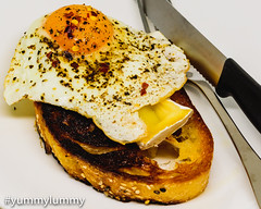 Fried sourdough toast with brie and a fried egg (garydlum) Tags: brie egg eggs friedegg sourdoughbread canberra australiancapitalterritory australia au