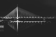 Ada bridge (ivanpilipovic) Tags: ada bridge suspension night bw canon 1100d