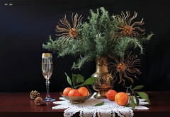 Happy New Year 2019...! (Esther Spektor - Thanks for 12+millions views..) Tags: stilllife naturemorte bodegon naturezamorta stilleben naturamorta composition creativephotography art newyear greeting tabletop bouquet branch food fruit tangerine ornament festive celebration vase goblet bowl pinecone doily champagne glass metal crochet pattern ambientlight white green orange golden brown black estherspektor canon citrus