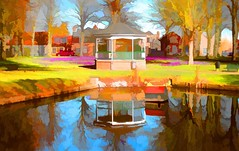 a colourful pond (♥Adriënne - for peace! -) Tags: painted topazlabs pond reflections digitalpaintings waterenvirons surroundings colours fieldsoflove nature nisse thenetherlands panasonictz20 zuidbeveland vijver dorpsplein