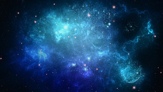Обои космос, фон, синий, точки картинки на рабочий стол, фото скачать бесплатно