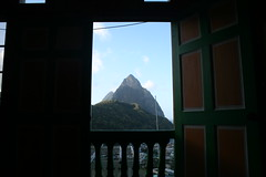 The view of Petit Piton from my hotel room - Soufriere, St Lucia (h_savill) Tags: 2019 february feb caribbean st lucia antilles windward isles holiday trip vacation exploreworldwide travel view landscape island soufriere piton stlucia town buildings bay sea water coast ocean hills