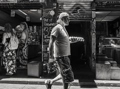 Egg courier (RP Major) Tags: street colour lane melbourne victoria man people walking fujix70