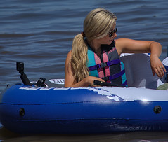 All Aboard (Scott 97006) Tags: woman female lady blonde lifevest raft float water river shades cute pretty
