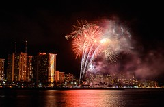 Friday Fireworks (Karen_Chappell) Tags: red fireworks travel oahu usa hawaii waikiki architecture reflection reflections ocean pacific sea night longexposure island honolulu hotels buildings landscape city cityscape urban water black canonef24105mmf4lisusm lights