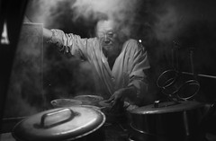 Street Food (Andrew Allan Jpn) Tags: street mystreet monochrome greyscale pentaxart pentaxk3 ricoh da35 travel japan kyoto lowkey blackandwhite steam contrast happyplanet asiafavorites