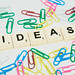 Ideas text with scrambled paperclips