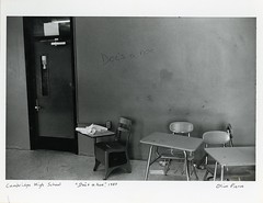 "Cambridge High School, ""Doc's a hoe,"" 1983 (Cambridge Room at the Cambridge Public Library) Tags: cambridgemass cambridge massachusetts bw blackandwhite olivepierce pierceolive"