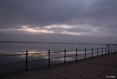Railings (Lee1885) Tags: water rails path westkirby sky sea river estuary dee mersey north wirral calm reflection clouds dusk outside lake