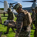 U.S. Marines, Sailors and JGSDF Soldiers move simulated casualties to an MV-22B Osprey during Iron Fist