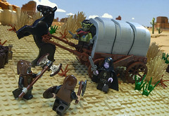 Tales In Omos: Chapter 1 - The Unlikely Duo (Ben Cossy) Tags: lego moc afol tfol kobold bandits wolfpack desert dungeonsanddragons dnd wagon carriage bush fight combat