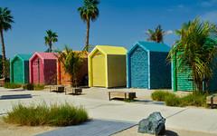 La Mer beach huts, Dubai (Bokeh & Travel) Tags: lamer beach huts colours colourful colors colorful beautiful sand sandy dubai uae united arab emirates vacation sunshine beaches dressing room shower