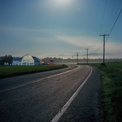 (patrickjoust) Tags: mamiya c330 s sekor 80mm f28 kodak portra 160 tlr twin lens reflex 120 6x6 medium format film c41 color negative cable release tripod long exposure night after dark manual focus analog mechanical patrick joust patrickjoust canada ca north america barn road fog mountains quebec star trail moon light