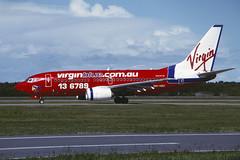 VH-VBC Boeing B737-7Q8 YBBN 15-04-05 (MarkP51) Tags: vhvbc boeing b7377q8 b737 virginblue va voz bribane airport bne ybbn queensland australia airliner aircraft airplane plane image markp51 nikon f90x kodachrome kodachrome64 slide film scan sunshine sunny